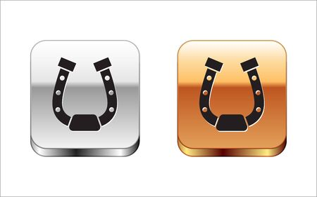 Black Horseshoe icon isolated on white background. Silver-gold square button. Vector Illustration