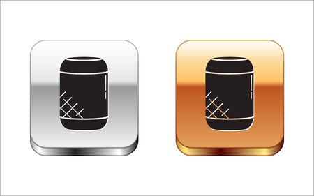 Black Voice assistant icon isolated on white background. Voice control user interface smart speaker. Silver-gold square button. Vector Illustration