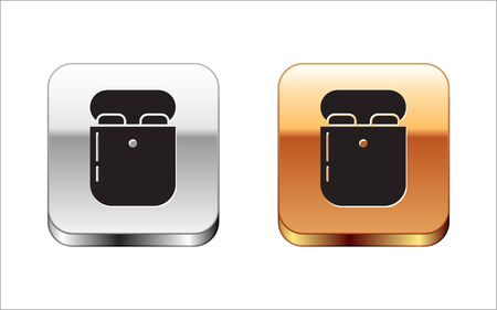 Black Air headphones in box icon icon isolated on white background. Holder wireless in case earphones garniture electronic gadget. Silver-gold square button. Vector Illustration