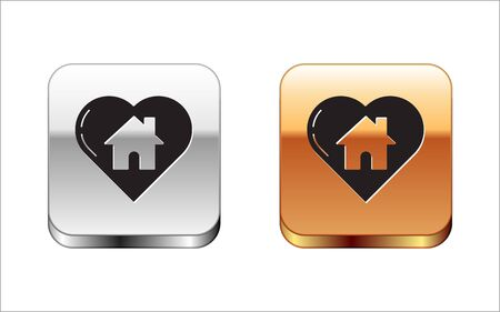 Black House with heart shape icon isolated on white background. Love home symbol. Family, real estate and realty. Silver-gold square button. Vector Illustration