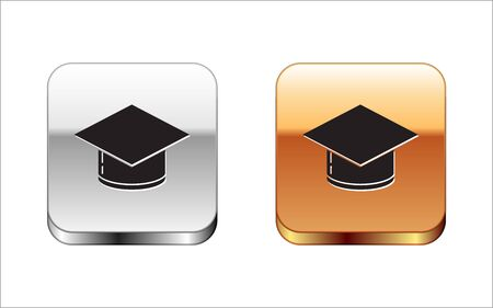 Black Graduation cap icon isolated on white background. Graduation hat with tassel icon. Silver-gold square button. Vector Illustration 写真素材 - 132795466