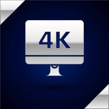 Silver Computer PC monitor display with 4k video technology icon isolated on dark blue background. Vector Illustration