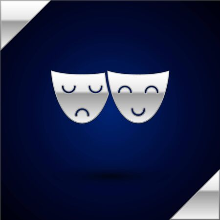 Silver Comedy and tragedy theatrical masks icon isolated on dark blue background. Vector Illustration 일러스트