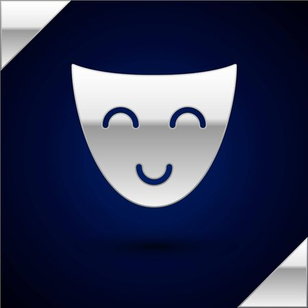Silver Comedy theatrical mask icon isolated on dark blue background. Vector Illustration 일러스트