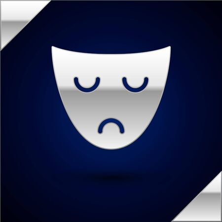 Silver Drama theatrical mask icon isolated on dark blue background. Vector Illustration 일러스트