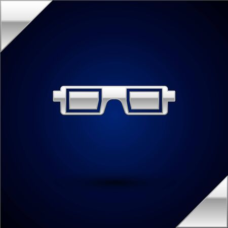 Silver 3D cinema glasses icon isolated on dark blue background. Vector Illustration Illustration