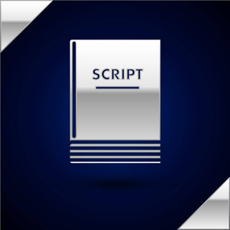 Silver Scenario icon isolated on dark blue background. Script reading concept for art project, films, theaters. Vector Illustration