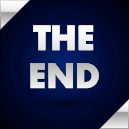 Silver The End handwritten inscription icon isolated on dark blue background. Closing movie frame. Movie ending screen. Vector Illustration 向量圖像