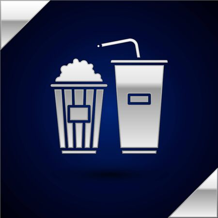 Silver Popcorn in cardboard box and paper glass with drinking straw and water icon isolated on dark blue background. Soda drink glass. Vector Illustration