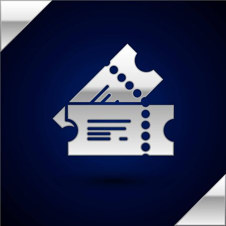 Silver Cinema ticket icon isolated on dark blue background. Vector Illustration Çizim