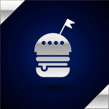 Silver Burger icon isolated on dark blue background. Hamburger icon. Cheeseburger sandwich sign. Fast food menu. Vector Illustration Archivio Fotografico - 132849516