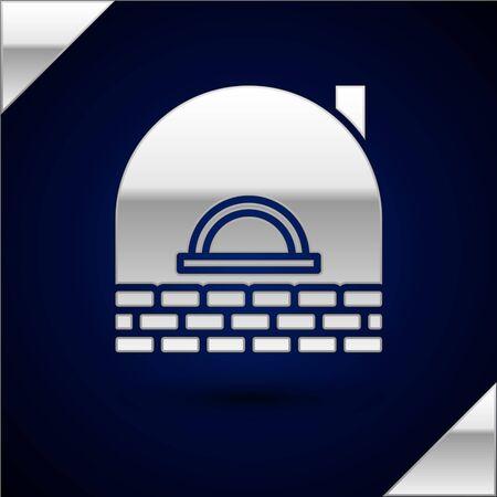 Silver Brick stove icon isolated on dark blue background. Brick fireplace, masonry stove, stone oven icon. Vector Illustration