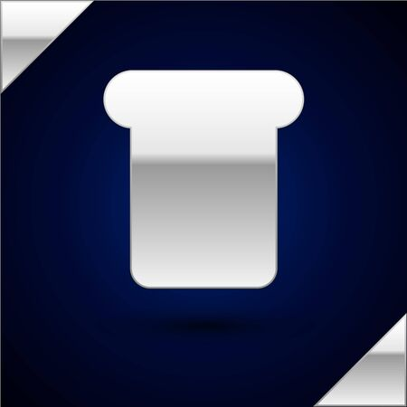 Silver Bread toast for sandwich piece of roasted crouton icon isolated on dark blue background. Lunch, dinner, breakfast snack. Vector Illustration