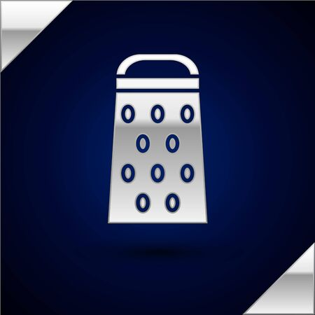 Silver Grater icon isolated on dark blue background. Kitchen symbol. Cooking utensil. Cutlery sign. Vector Illustration Stock Illustratie