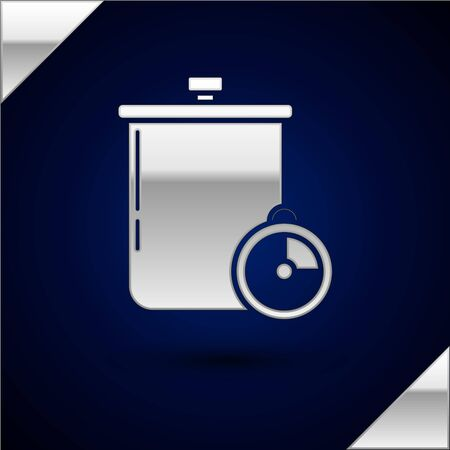 Silver Cooking pot and kitchen timer icon isolated on dark blue background. Boil or stew food symbol. Vector Illustration