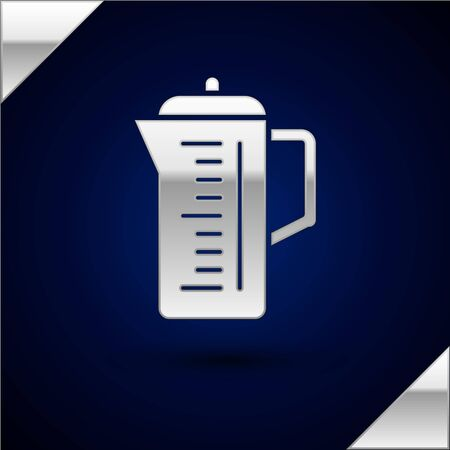 Silver Teapot icon isolated on dark blue background. Vector Illustration