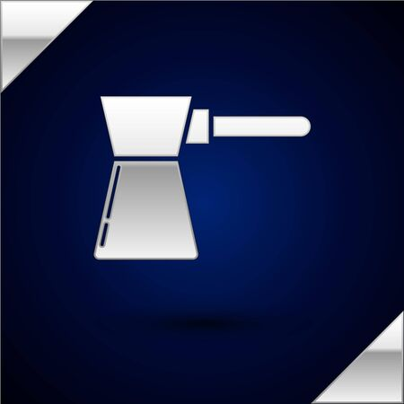Silver Coffee turk icon isolated on dark blue background. Vector Illustration Çizim