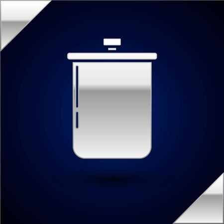 Silver Cooking pot icon isolated on dark blue background. Boil or stew food symbol. Vector Illustration