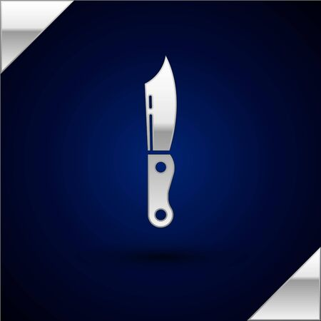 Silver Military knife icon isolated on dark blue background. Vector Illustration