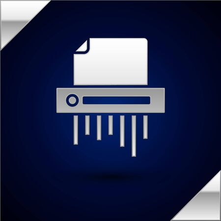 Silver Paper shredder confidential and private document office information protection icon isolated on dark blue background. Vector Illustration Иллюстрация