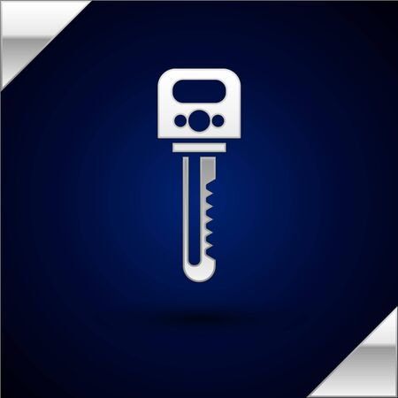 Silver Key icon isolated on dark blue background. Vector Illustration
