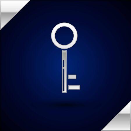Silver Key icon isolated on dark blue background. Vector Illustration Stok Fotoğraf - 132851668