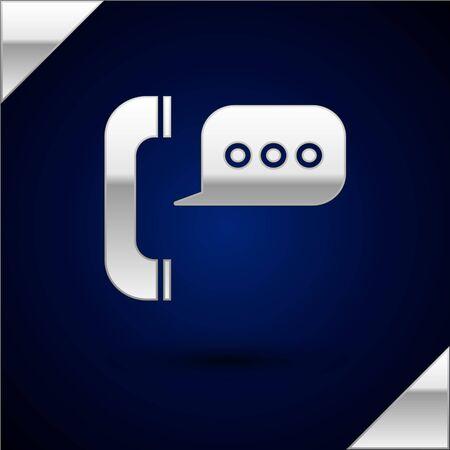 Téléphone argenté avec icône de chat bulle isolé sur fond bleu foncé. Support service client, hotline, centre d'appels, faq, maintenance. Illustration vectorielle