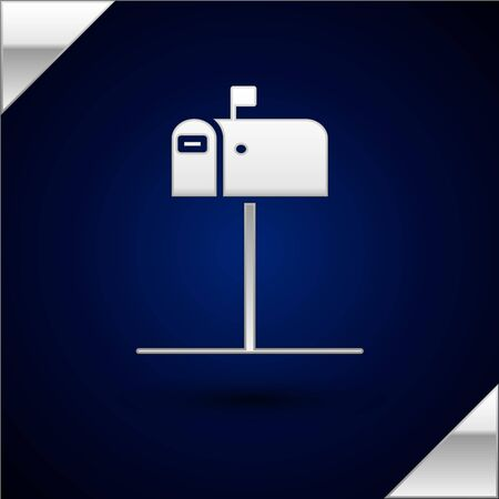 Silver Open mail box icon isolated on dark blue background. Mailbox icon. Mail postbox on pole with flag. Vector Illustration