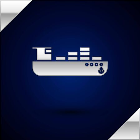 Silver Cargo ship with boxes delivery service icon isolated on dark blue background. Delivery, transportation. Freighter with parcels, boxes, goods. Vector Illustration Banque d'images - 132851830