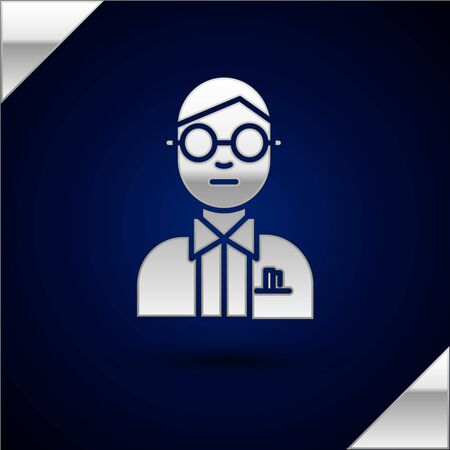 Silver Scientist icon isolated on dark blue background. Vector Illustration