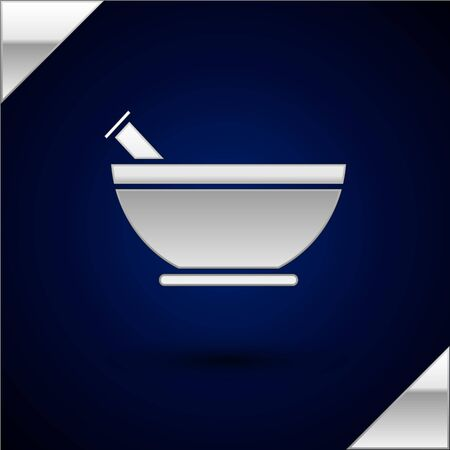 Silver Mortar and pestle icon isolated on dark blue background. Vector Illustration
