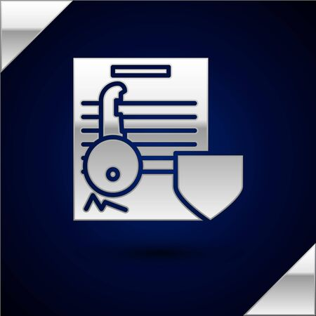Silver Document with key with shield icon isolated on dark blue background. Key insurance. Security, safety, protection, protect concept. Vector Illustration Stok Fotoğraf - 132851893