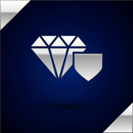Silver Diamond with shield icon isolated on dark blue background. Jewelry insurance concept. Security, safety, protection, protect concept. Vector Illustration