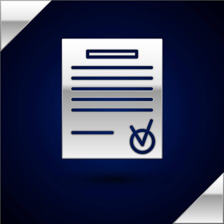 Silver Confirmed document and check mark icon isolated on dark blue background. Checklist icon. Business concept. Vector Illustration