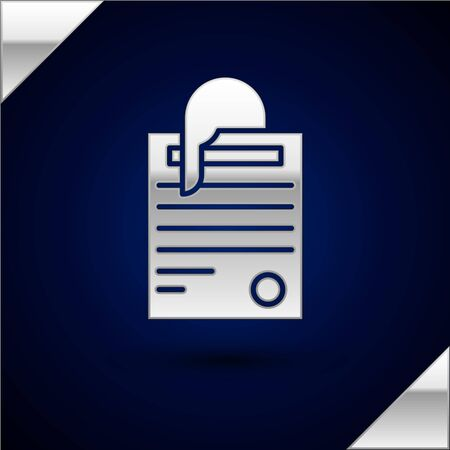 Silver File document and paper clip icon isolated on dark blue background. Checklist icon. Business concept. Vector Illustration