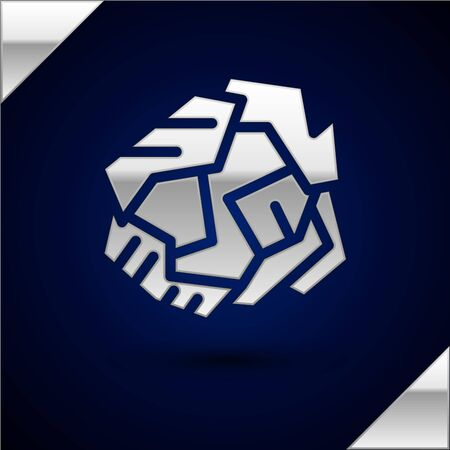 Silver Crumpled paper ball icon isolated on dark blue background. Vector Illustration