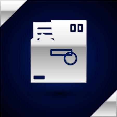 Silver Ordered envelope icon isolated on dark blue background. Email message letter symbol. Vector Illustration
