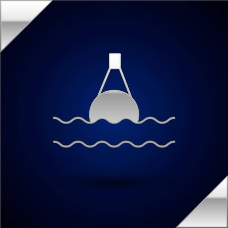 Silver Floating buoy on the sea icon isolated on dark blue background. Vector Illustration Иллюстрация