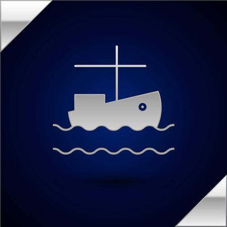 Silver Fishing boat on water icon isolated on dark blue background. Vector Illustration