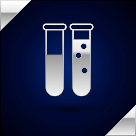 Silver Test tube and flask chemical laboratory test icon isolated on dark blue background. Laboratory glassware sign. Vector Illustration Иллюстрация