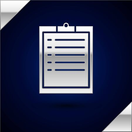 Silver Clipboard with checklist icon isolated on dark blue background. Vector Illustration