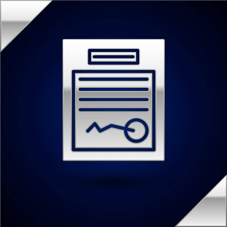 Silver Filled form icon isolated on dark blue background. File icon. Checklist icon. Business concept. Vector Illustration Ilustrace