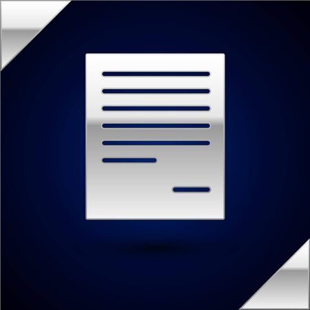 Silver Document icon isolated on dark blue background. File icon. Checklist icon. Business concept. Vector Illustration