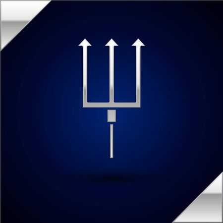 Silver Neptune Trident icon isolated on dark blue background. Vector Illustration