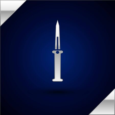 Silver Knife icon isolated on dark blue background. Army knife. Vector Illustration Ilustracja
