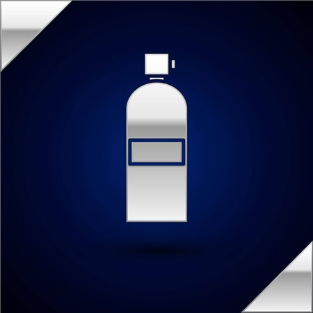 Silver Aqualung icon isolated on dark blue background. Oxygen tank for diver. Diving equipment. Extreme sport. Diving underwater equipment. Vector Illustration Illustration