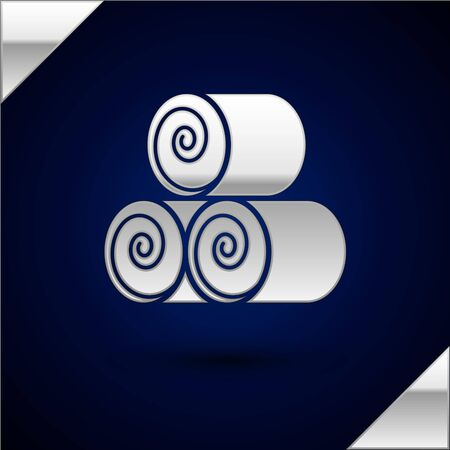 Silver Roll of hay icon isolated on dark blue background. Vector Illustration