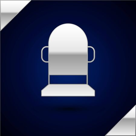 Silver Buoy icon isolated on dark blue background. Vector Illustration