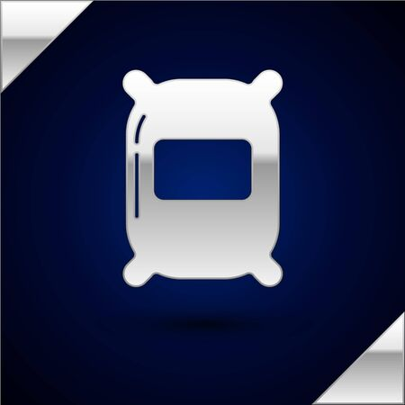 Silver Bag of flour icon isolated on dark blue background. Vector Illustration Çizim