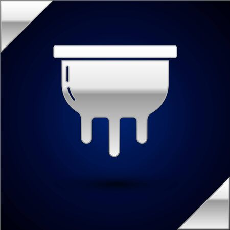 Silver Udder icon isolated on dark blue background. Vector Illustration Stock Illustratie